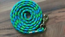 Nylon Poly Miniature Horse or Pony Lead Rope Usa Made- lime green/blue/black