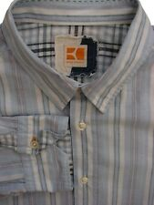 HUGO BOSS ORANGE Shirt Mens 17 XL Light Blue - White & Multi-Coloured Stripes