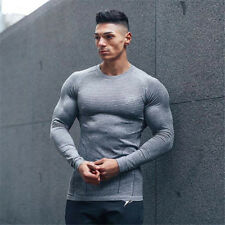 Men's Fitness Athletic Quick Drying Elastic T-shirts Gym Long Sleeve Clothing