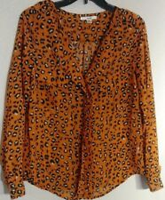 Papaya Women Size Medium Orange Cheetah Print Button Polyester Blouse secritary
