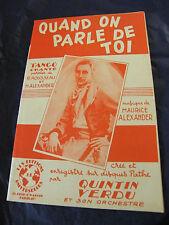 Partition Quand on parle de toi R Rousseau Alexander Quintin Verdu Rubia