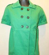 Original Zara TRF Fall Cold Layer Green Shorts Sleeve Pea Coat / Jacket Size L