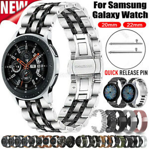For Samsung Watch 46mm 42mm Gear S3 S2 Stainless Steel Leather Watch Strap Band
