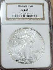 1998 American Silver Eagle  NGC MS 69 Brown Label