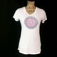 Columbia Womens sz M White Pink Gray Kaleidoscope Print Short Sleeve T Shirt