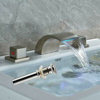 LED Waterfall Spout Bathroom Basin Faucet Brushed Nickel  Sink Mixer Tap W Drain