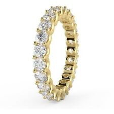 1.00 Carat Round Diamond U Prong Set Full Eternity Ring, Yellow Gold