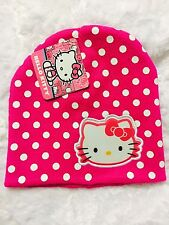 Girl's Hello Kitty Knit Beanie Hat Cap One Size Fits Most Pink Polka Dot Sanrio