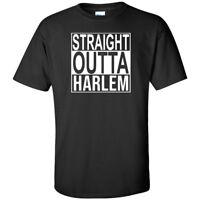 Straight Outta Harlem White Logo T Shirt Mens Funny New York City Merch Tee New