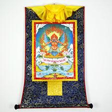 48 Inch Tibetan Buddhism Thangka Mythology - Garuda Bid Printed Brocade Scroll