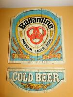 "VINTAGE 24"" HIGH BALLANTINE PREMIUM LAGER COLD BEER PLASTIC WALL SIGN"