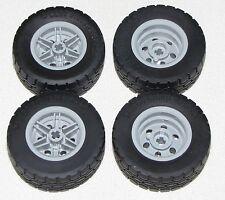 Lego 4 New Black Tire 49.5 x 20 Light Bluish Gray Wheels 30.4mm D. x 20mm Car