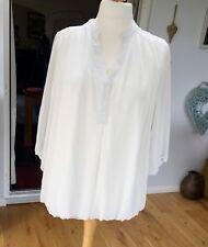 Cream Layered Chiffon-Style Blouson Style Shirt Top * Size 18 *