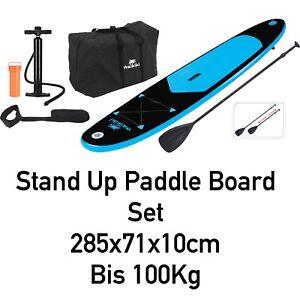 Steh - Paddelbrett Set 285x71x10cm schwarz-blau aufblasbar Stand Up Paddle board