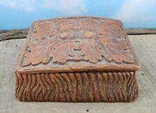 Vintage Multi Products Inc. 1946 Carved Syrocco Wood Acorn Leaf Trinket Box