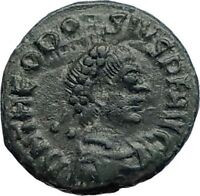 THEODOSIUS I the Great 379AD Authentic Ancient  Roman Coin Wreath  i74137