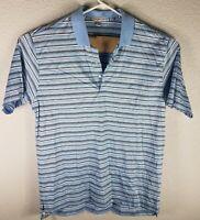 Peter Millar Men's Sz XL Light Blue Grey White Striped Golf Polo Shirt