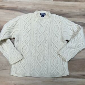 Lands End Cable Knit Wool Fisherman's Sweater Boys Medium (10-12)
