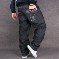 New Mens Jeans Black Denim Baggy Loose Casual Pants Hip-Hop Streetwear W30-W46