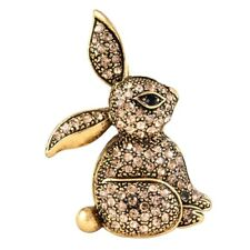 Rhinestones On a Textured Golden Metal Sparkling Bunny Rabbit Pin With Glowing