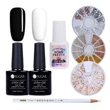 7pcs/set Manicure Kit 3D Nail Rhinestones Dotting Pen Black White Gel Polish DIY