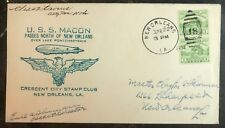 1934 USS Macon Airship zeppelin Passes North Of New Orleans La USA Cover