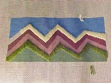 Needlepoint Hand Stitch Painted Canvas Chevrons LHE 01 Some Stitches Completed