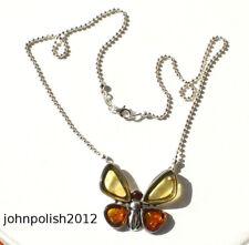 Bonito Collar de Ámbar Báltico Mariposa con Plata 925