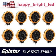 8X 7inch 51W Round Led Work Light Pods Spot Off Road Roof Bar Bumper Yellow Thin