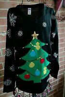 Holiday Time Womens Tree Jingle Bell Embellished Christmas Sweater Sz M NWT