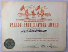 Vintage Fort Worth Texas Stock Show Rodeo Parade Participation Award Certificate