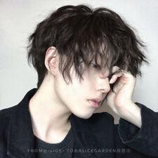 Black Short Hair Boys Men Fluffy kakkoii Japanese Cosplay Harajuku Wig