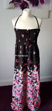 M&S SUMMER MAXI DRESS BANDEAU or HALTERNECK BLACK PINK FLORAL SIZE 14 Eur 42