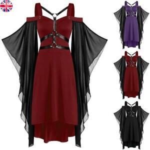 Women's Steampunk Gothic Off Shoulder Dress Evening Party Dresses Size 10-18