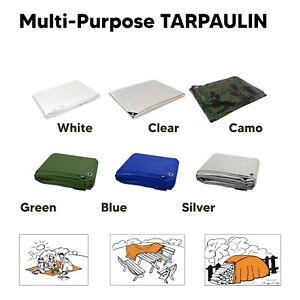 Tarpaulin Regular And Heavy Duty Waterproof Cover Tarp Ground Sheet Multi Sizes