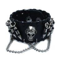 Black Men's Gothic/punk Leather-look Bullet Skull Chain Wristband Bracelet