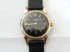 Vintage 1950 Longines 10K GF cal.19A 17j Fancy Lugs Black Dial Automatic Watch