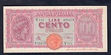 100 LIRE LUOGOTENENZA ITALIA TURRITA 1944 q.fds/fds LOTTO 286