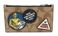 Coach Men's X Star Wars Signature Canvas Zip Card Case Wallet w/ Patches