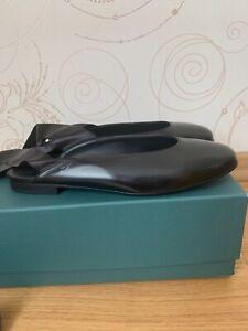 Aeyde Black Leather Ballet Flats Shoes Ribbon Size US 7 EU 38