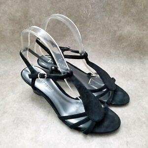 "Apostrophe Womens  41869 Sz 8 M Black  Leather Open Toe T-Strap 2"" Wedge Sandals"