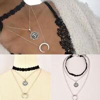 Women's Moon Pendant Choker Necklace Black Lace Silver Long Chain Jewelry