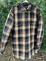 TownCraft Large Insulated Quilted Lined Plaid Flannel Work Shirt Jacket Neutral