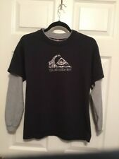 QUIKSILVER Long Sleeve Graphic T-Shirt Size Youth M Medium black grey