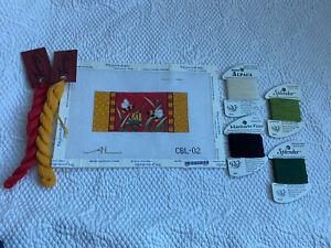 "Needlepoint Handpainted Amanda Lawford AL Beautiful Flowers Bees 3x5.5"" Red Kit"