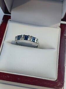 Vintage Platinum Diamonds Sapphire Band Ring - Size 7
