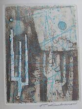 LUBAROW RENÉE : Eau forte originale . Carte de Vœux 1969. Prouté Ezratty. Dimens