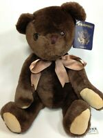 "Passport Plush Teddy Bear Chocolate Brown Soft Stuffed Jointed Animal TAG 15"""
