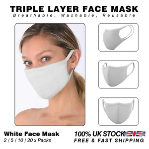 Triple Layer Cotton Face Mask Anti-Dust Breathable Mask | White 2/5/10/20 x Pack