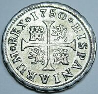 1750 Spanish Silver 1/2 Reales Piece of 8 Real Colonial Era Pirate Treasure Coin